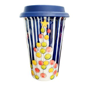 Author's coffee Cup with silicone lid No. 27 color Christmas balls, Gzhel Porcelain factory