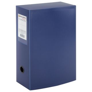 The box is archival (330х245 mm), 100 mm, plastic, collapsible, up to 900 sheets, blue, 0.9 mm, BRAUBERG Energy