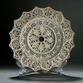 "Plate ""Sunshine"" silvering, Kazakovskaya Filigree"