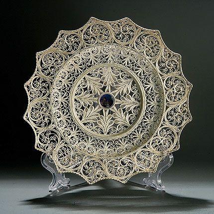 Plate 'Sunshine' silvering, Kazakovskaya Filigree
