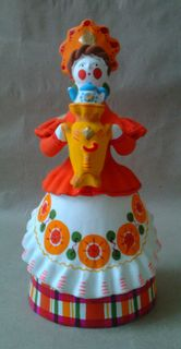Dymkovo clay toy Lady the woman with samovar