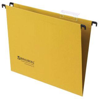 Hanging folder A4 (350х245 mm), up to 80 sheets, SET of 10 PCs, yellow, cardboard, BRAUBERG (Italy)