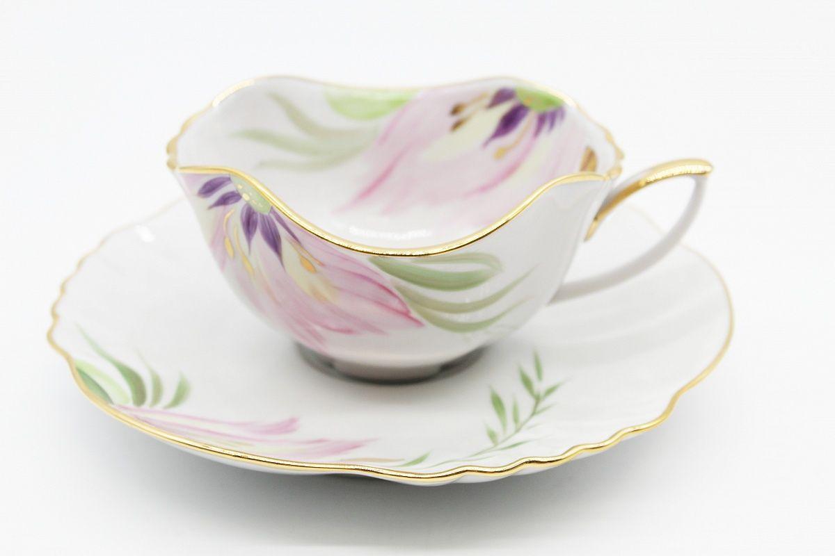 Dulevo porcelain / Tea cup and saucer set, 12 pcs., 250 ml Lily Blossom