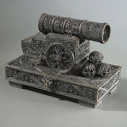 Souvenir 'Tsar cannon' silvering, Kazakovskaya Filigree