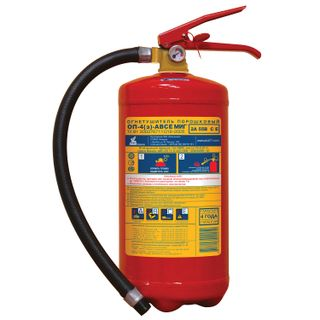 MIG / 05 / Powder fire extinguisher OP-4, ABCE (solid, liquid, gaseous substances, electrical installations)