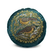 Cushion divan 'Bird on pine' green with gold embroidery