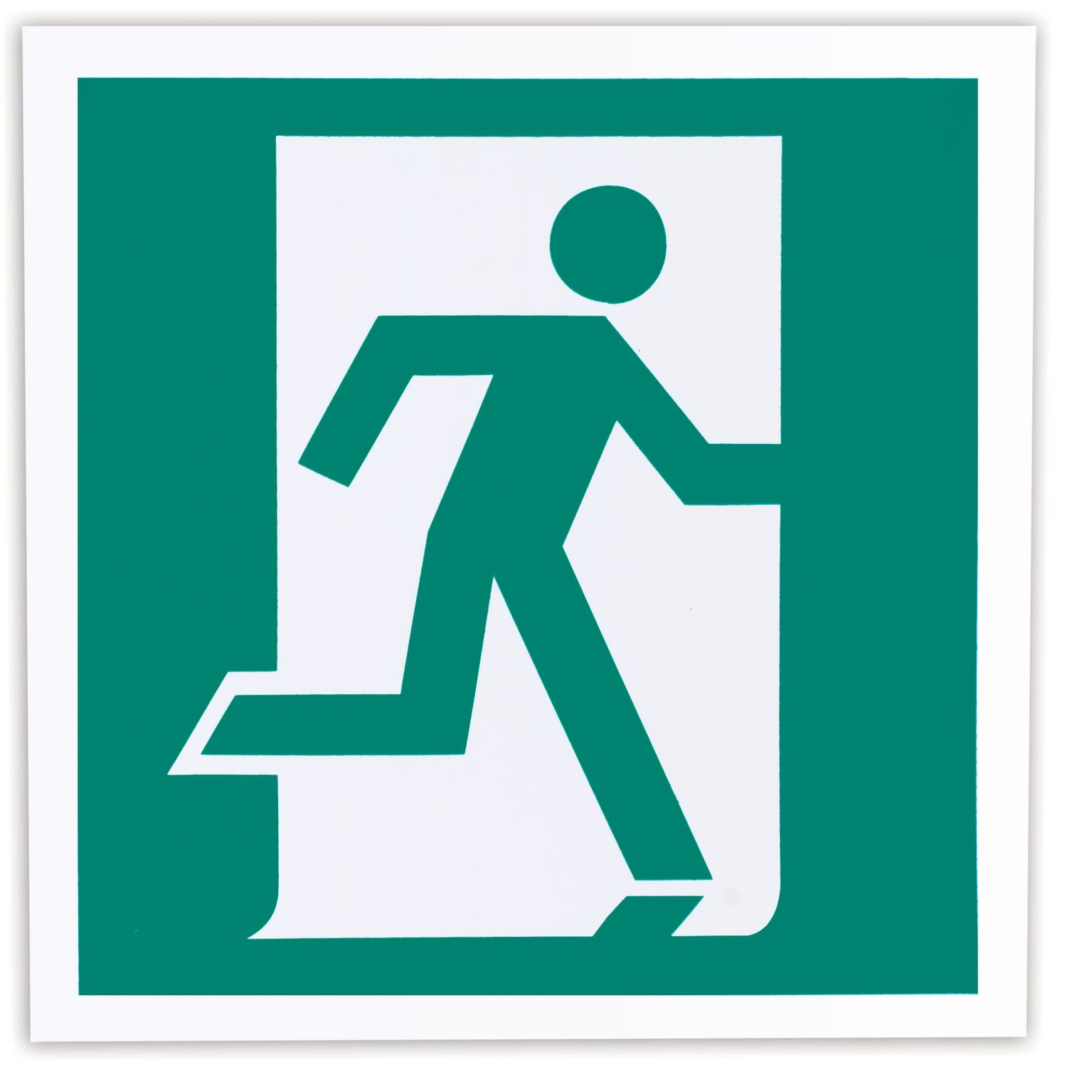 """Evacuation sign """"Exit here (right-sided)"""", 200x200 mm, self-adhesive, photoluminescent"""