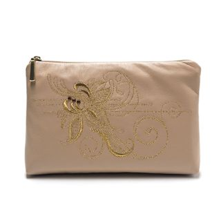 """Leather cosmetic bag """"Romance"""" beige with gold embroidery"""