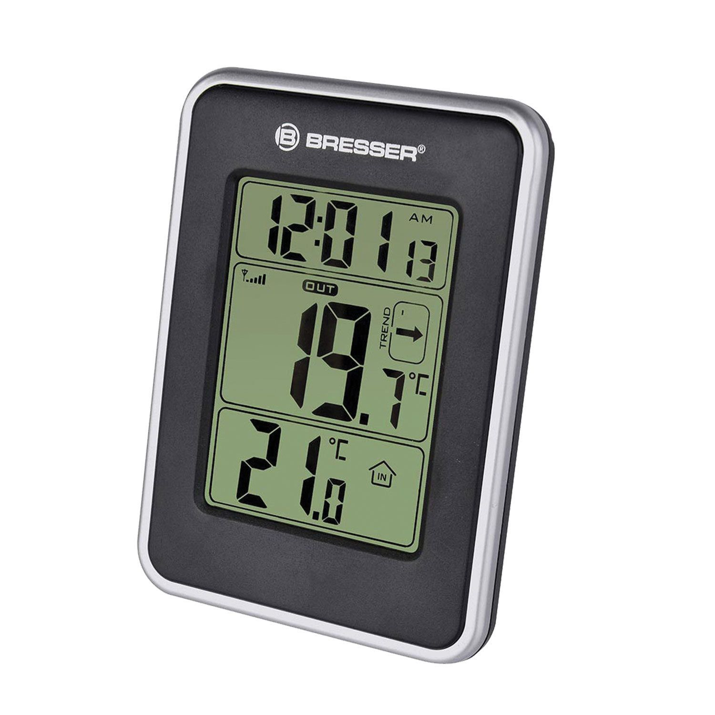 BRESSER weather station Temeo io, temperature sensor, clock, alarm clock, black