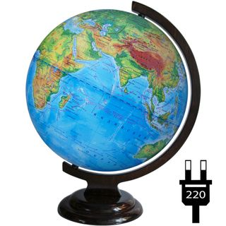 Physical globe with a diameter of 320 mm on a wooden stand with backlight