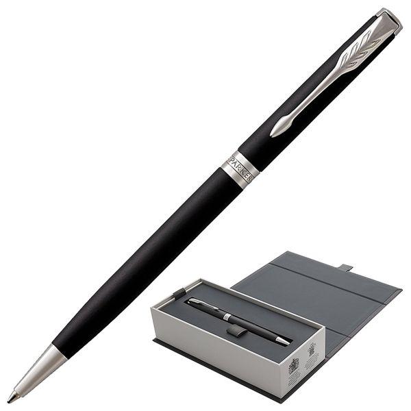 Ballpoint pen PARKER 'Sonnet Matt Black CT Core Slim', slim case, black lacquer, palladium details, black