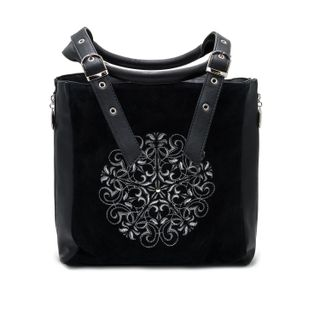 "Bag made of eco-leather ""Vilora"" black with silver embroidery"