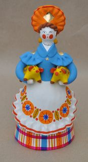 Dymkovo clay toy, the Lady with piglets