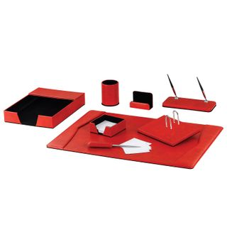 GALANT table set made of eco-leather, 8 items, snakeskin, red