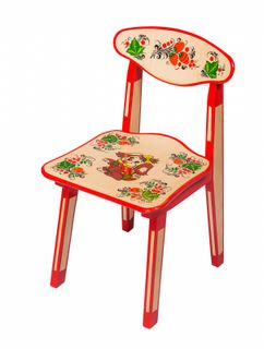 The wooden kids chair with artistic painting, 2 growth category