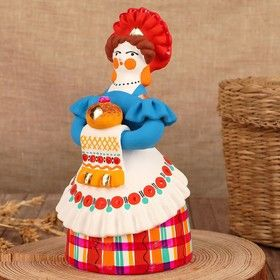 Dymkovo clay toy, the Lady with bread