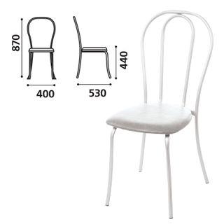 Table chair, cafe, Veresk house, white frame, light grey leather