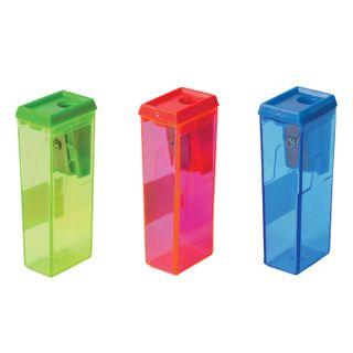 Sharpener BEIFA (Beifa), container, rectangular, plastic, in display, assorted
