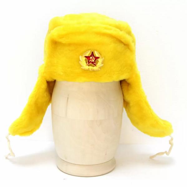 Matryoshka Factory / Yellow Ushanka Hat with Cockade
