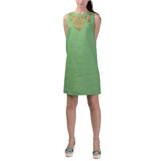 Dress women's city green with gold embroidery