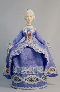 Doll gift porcelain. Secular suit. The mid-18th century. Western Europe