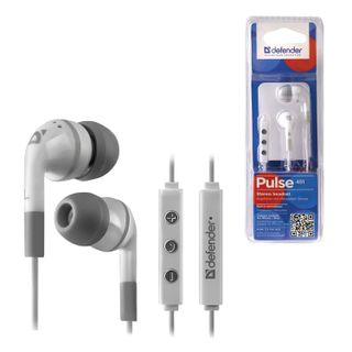 DEFENDER / Earphones with microphone (headset) Pulse 451, wired, 1.2 m, in-ear, for iPhone, white