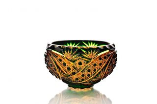 "Crystal salad bowl ""Fars"" amber-green"