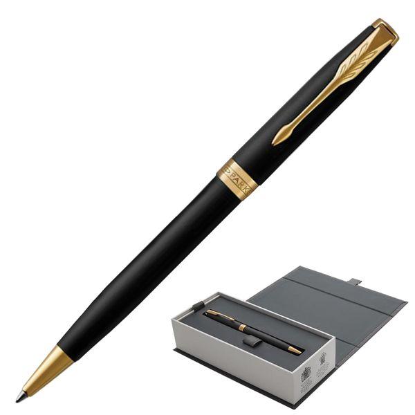 Ballpoint pen PARKER 'Sonnet Matt Black GT Core' case, black lacquer, gold plated parts, black