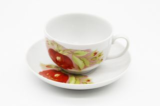 Dulevo porcelain / Tea cup and saucer set, 12 pcs., 210 ml. Amber Alpine flowers red