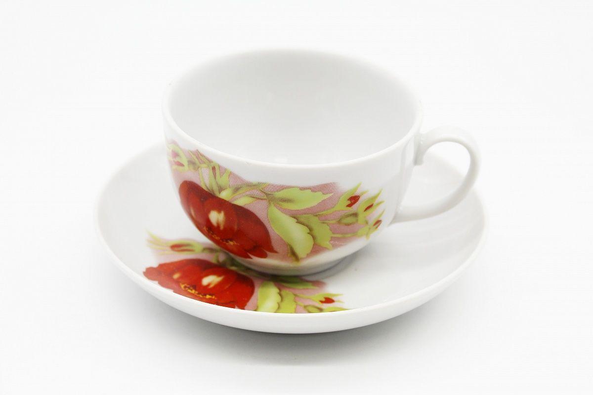 Dulevo porcelain / Tea cup and saucer set, 12 pcs., 210 ml. Amber Alpine flowers red