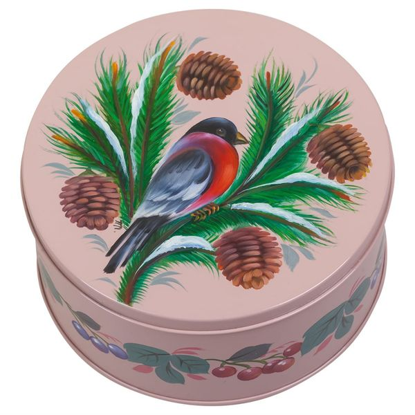 Zhostovo / Round medium tin can, author Pichugina L. 15x15x10 cm