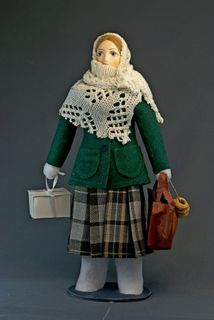 Doll gift porcelain. Peasant woman in winter clothes. 70 years of the 20th century, Russia.