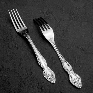 """Dessert fork """"three"""" with art painting on the working part, Pavlovsky plant"""