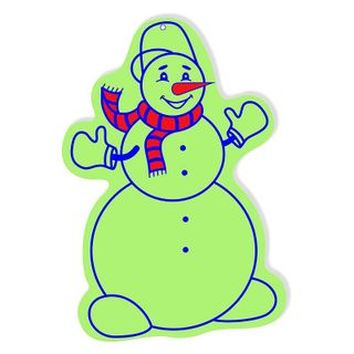 Snowman with a red scarf. The figure glowing in the dark.