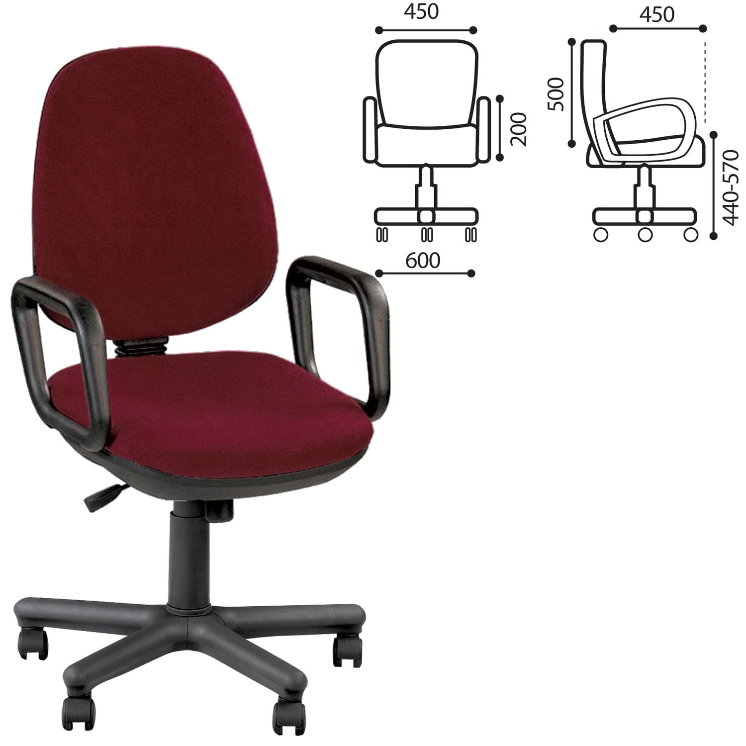 """Armchair """"Comfort GTP"""", with armrests, burgundy"""