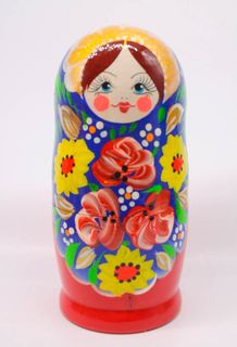 Matryoshka souvenir red and blue 5 dolls