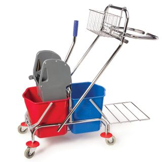 Cleaning trolley BRABIX, 2 removable buckets 20 l, mechanical spinning, basket, bag holder, pallet