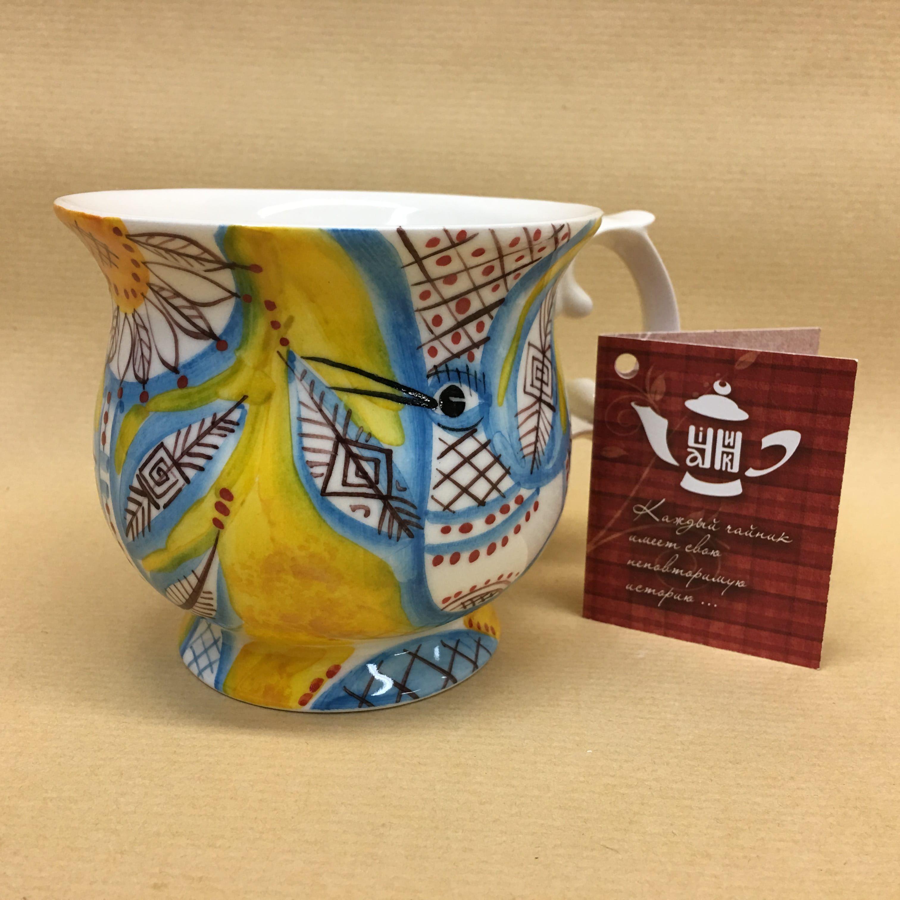 "Cheerful porcelain / Porcelain cup ""Birds"", author Ogorodnikova O."