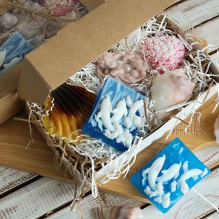Set of handmade sea soap