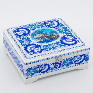 "The box ""Tree horses"" is wooden white 170х170"