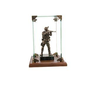 """Figurine """"Commando in the stone"""" in a glass box"""