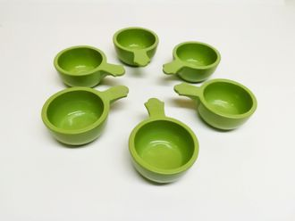 Vyatka ceramics / Set of 6 cocottes, with a capacity of 0.1 l. (light green)