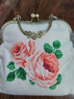 Handbag women's beige Roses cotton