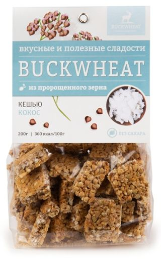 Buckwheat / Sugar-free confectionery with cashews and coconut, 200g, 8 pcs.