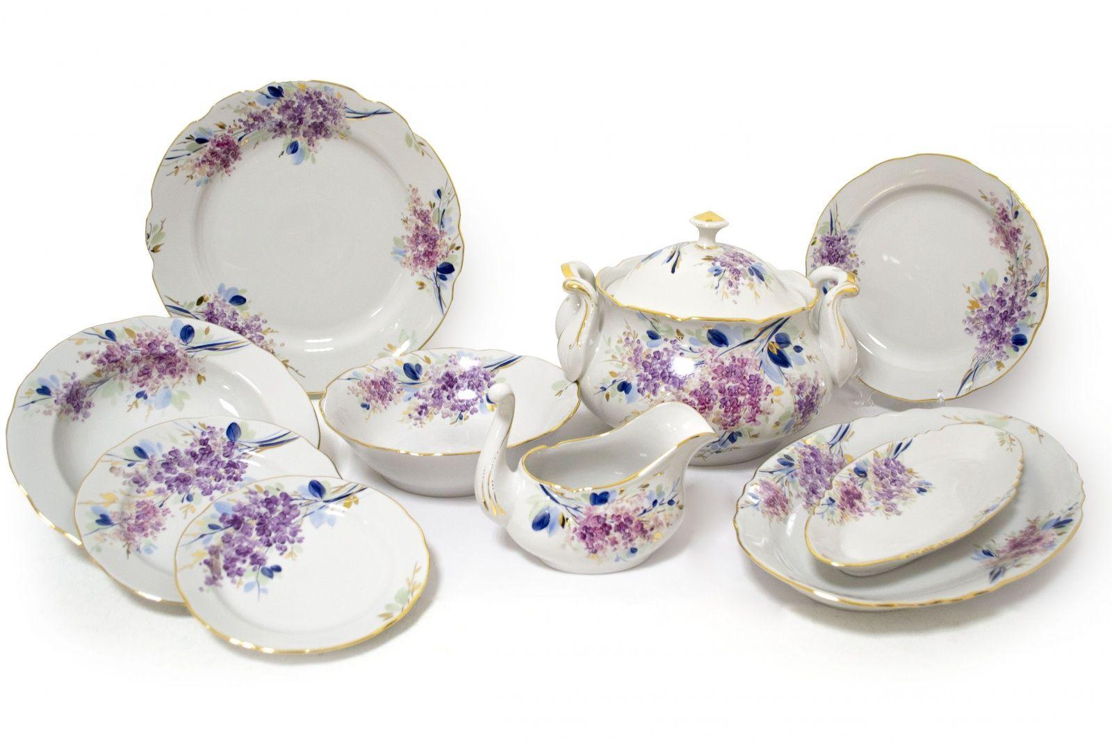 Dulevo porcelain / Table service 34 pcs Appetizing White Night, author Yasnetsova M.V.