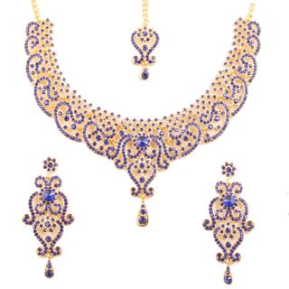 Touchstone Indian Bollywood Fine Filigree Red Faux Grand Bridal Jewelry Necklace Set In Antique Gold Tone For Women.