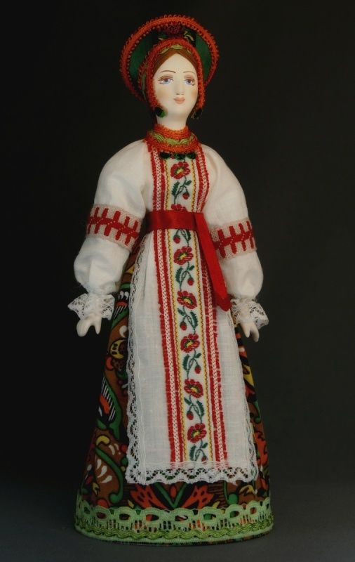 Doll gift. Traditional maiden costume. Russia.