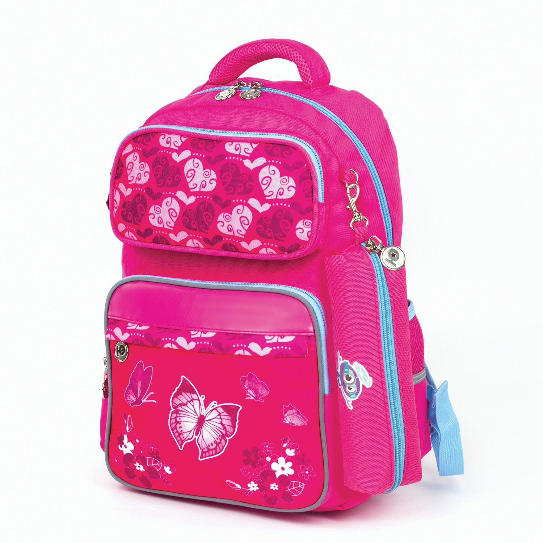 INLANDIA backpack with pencil case in the kit, ergo-back, girls, Butterfly, 42х29х14 cm