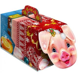 """New Year's gift Piglet """"Tail"""", a set of sweets 600g."""