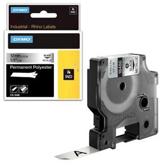 DYMO Rhino label printer cartridge, 12 mm x 5.5 m, polyester tape, extreme temperature, black font, metallic